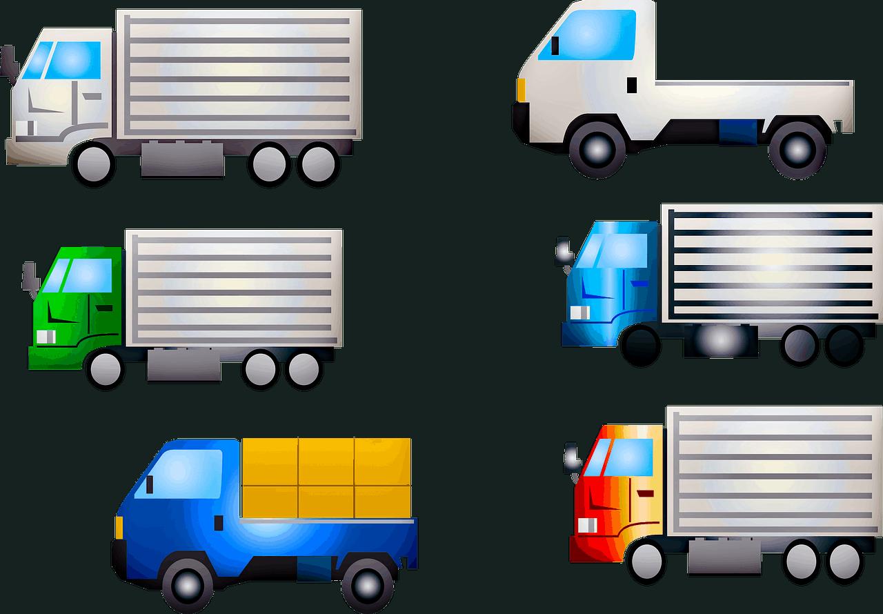 משאיות בגדלים שונים